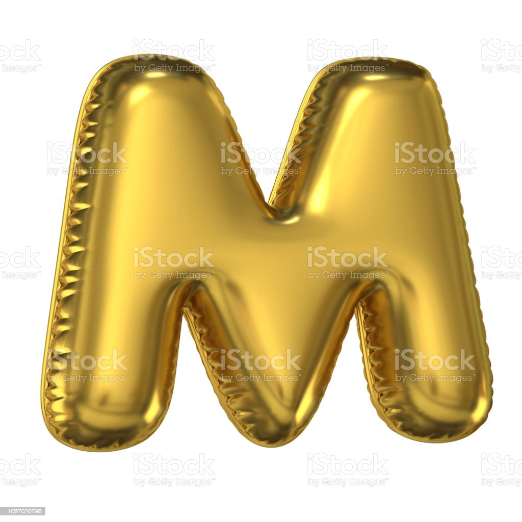 Golden balloon font 3d rendering, letter M stock photo