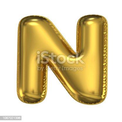 964199358istockphoto Golden balloon font 3d rendering, letter N 1067021396