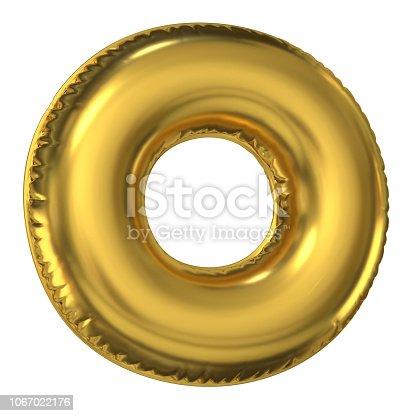 964199358istockphoto Golden balloon font 3d rendering, letter O 1067022176