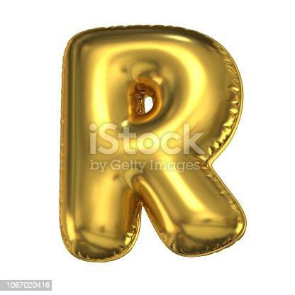 964199358istockphoto Golden balloon font 3d rendering, letter R 1067020416