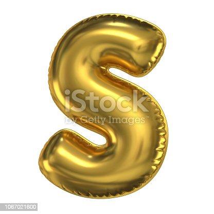 964199358istockphoto Golden balloon font 3d rendering, letter S 1067021600