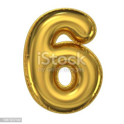 964199358istockphoto Golden balloon font 3d rendering, number 6 1067022152