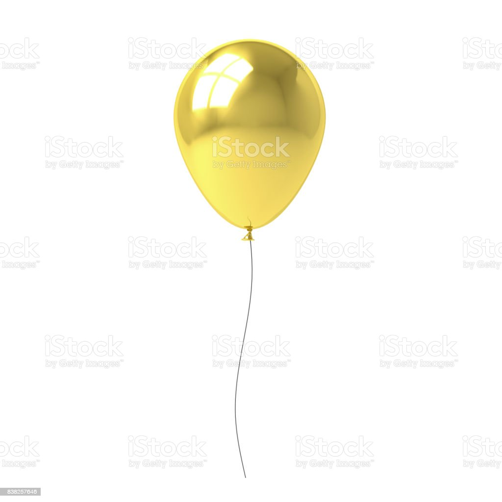 Golden balloon isolated on white background with window reflection . 3D rendering stock photo