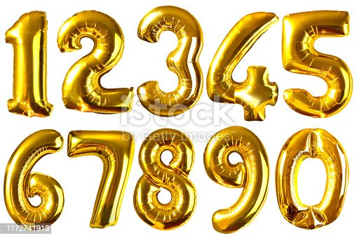 istock Golden balloon numbers isolated on white for your design 1172741913
