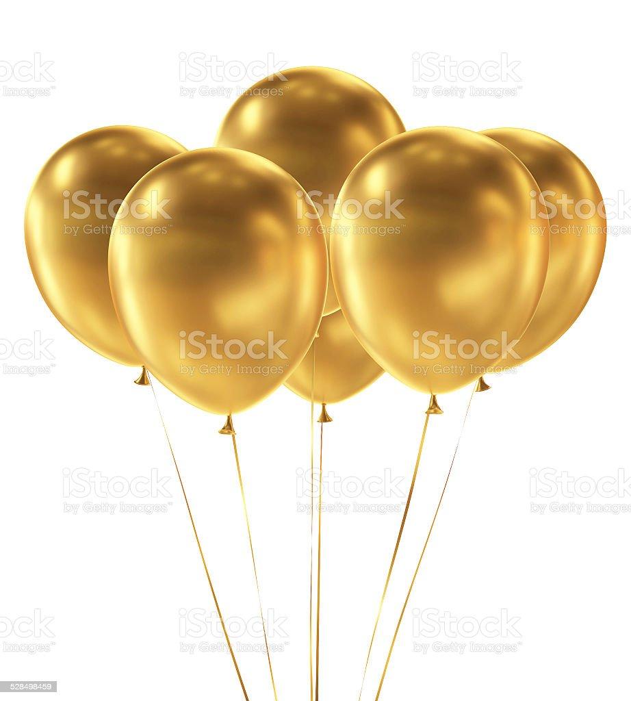 Goldene Ballons isoliert auf weißem Hintergrund – Foto