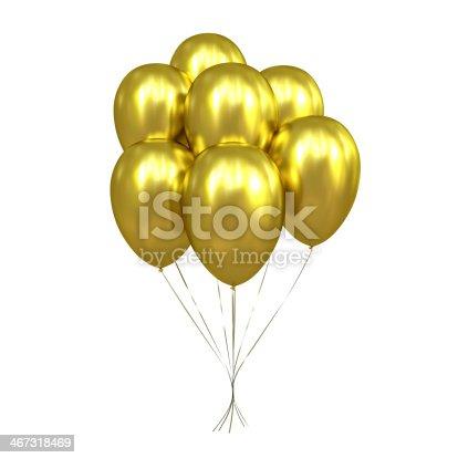 istock 7 Golden Balloons 467318469