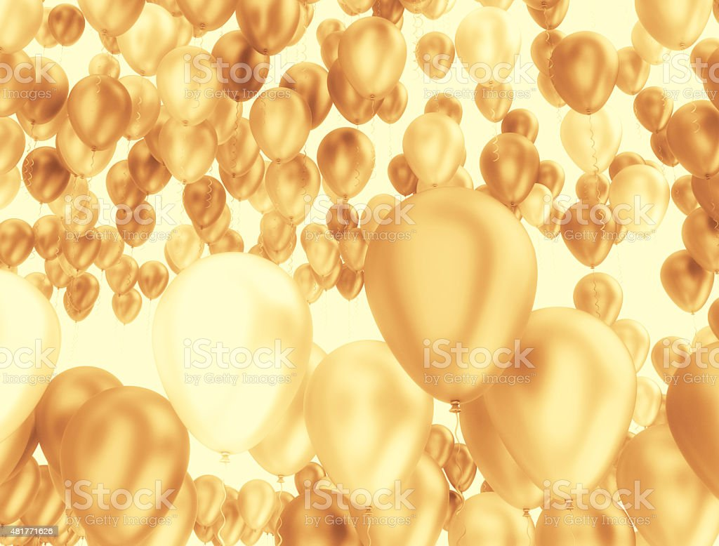 Golden balloons stock photo