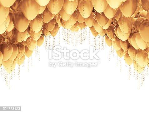istock Golden balloons 524773423
