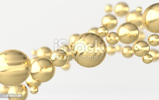 istock Golden balls 3d rendering. Chaotic spheres geometric abstract background, primitive shapes, minimalistic design 1181642156