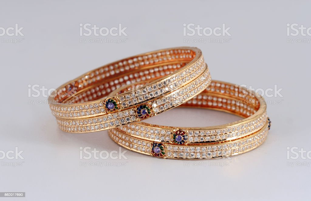 Golden Bangles stock photo