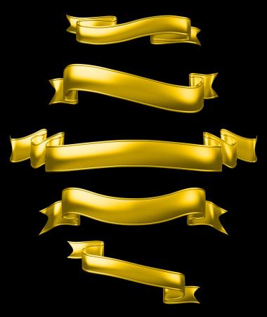 istock Golden banners set, high-resolution 3d render. 136264133