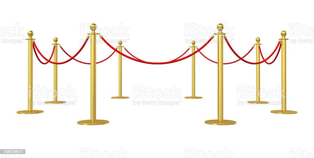 Golden barricade isolated on white background royalty-free stock photo