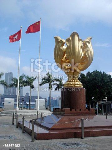 istock Golden Bauhinia Square, Hong Kong 486867482