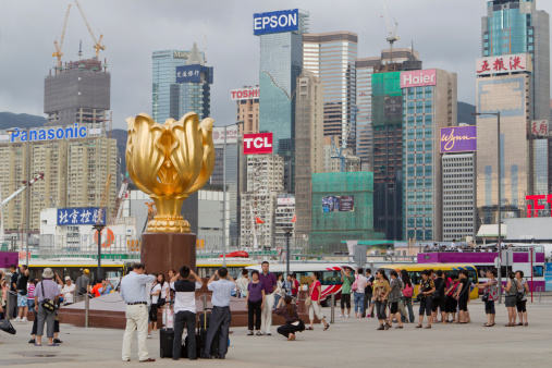 Golden Bauhinia Square In Hong Kong Stock Photo - Download Image Now