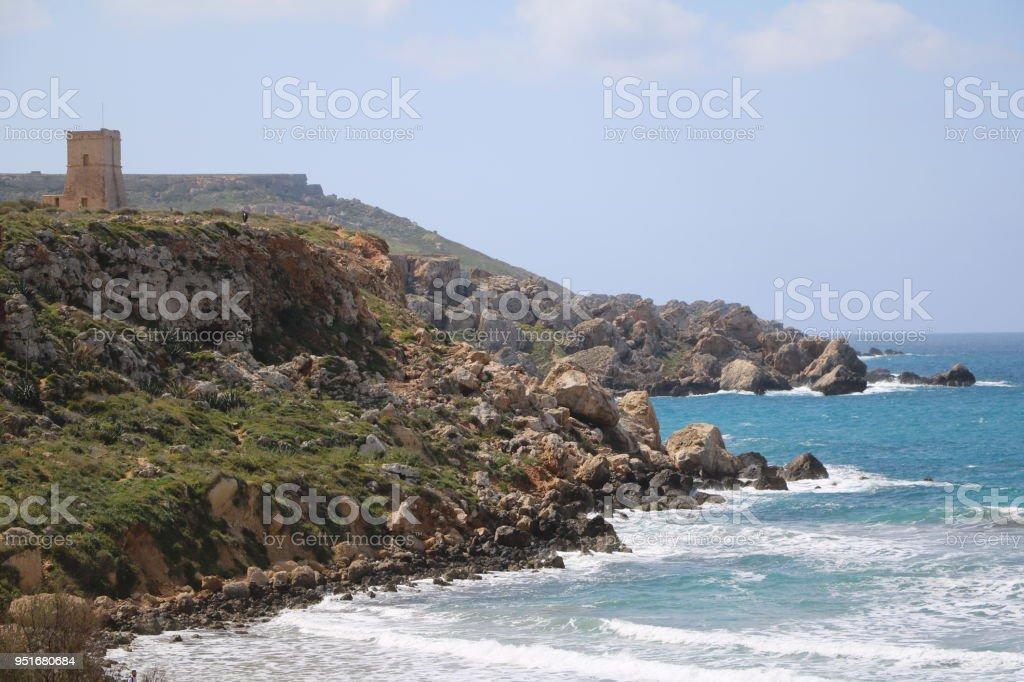 Golden Bay at the Mediterranean sea in Malta stock photo