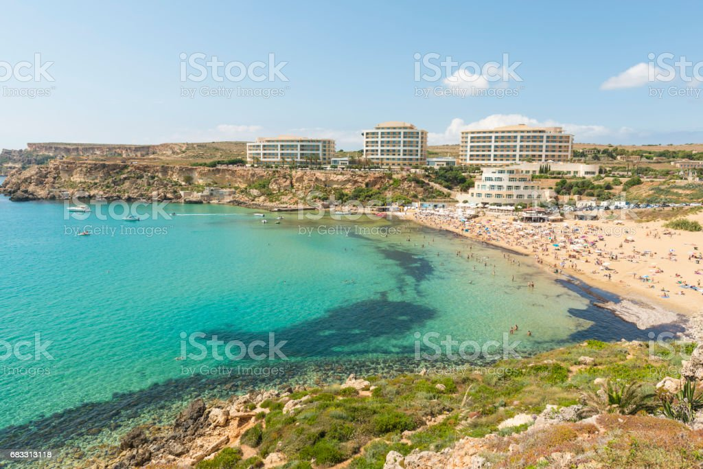 Golden bay beach on Malta foto stock royalty-free