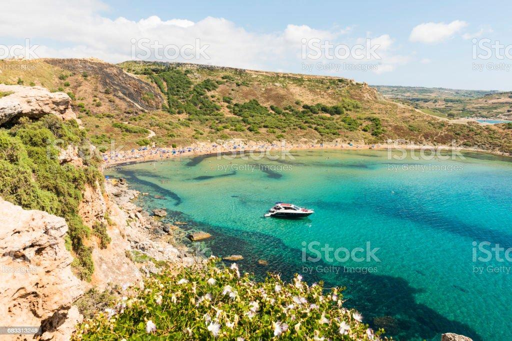 Golden bay Ghajn Tuffieha beach on Malta foto stock royalty-free