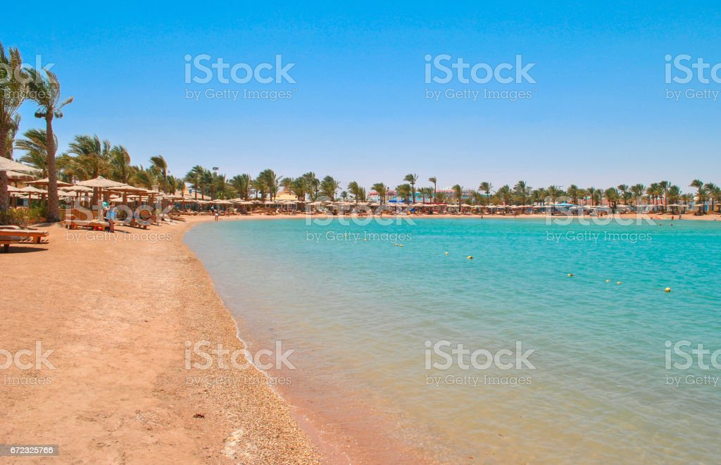 Golden beach in Hurghada, Egypt stock photo