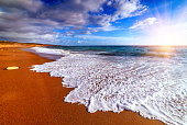beach with golden sand on sunset