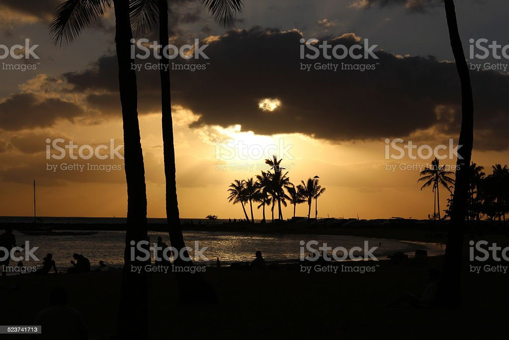 Golden beach stock photo