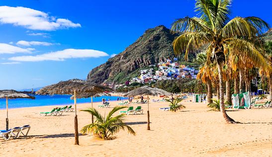Golden beautiful beach Las Teresitas - Teneride island