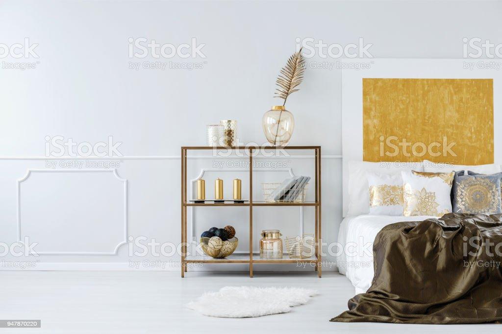 Golden bedroom interior