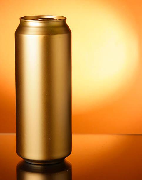 Golden beer can stock photo