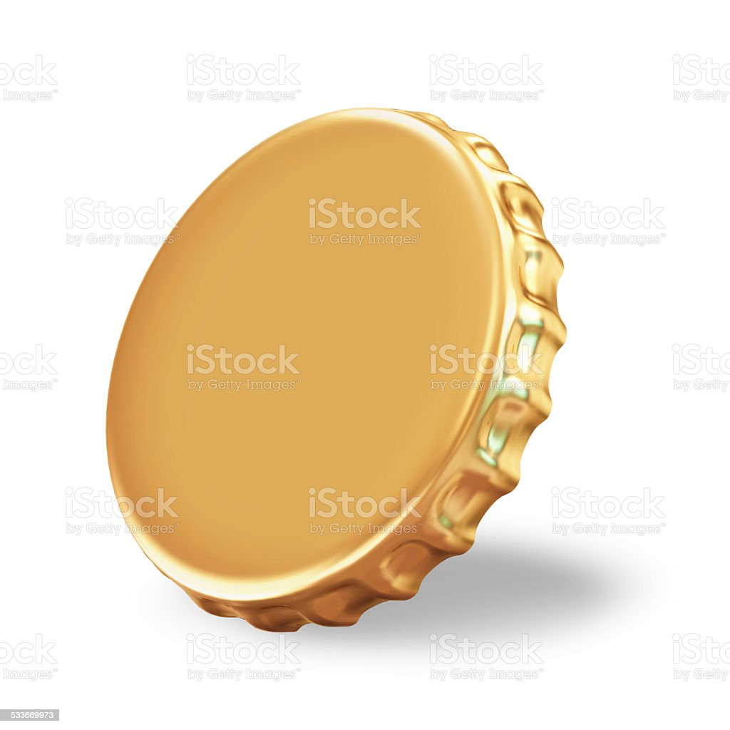 Golden Beer Cap on white background stock photo