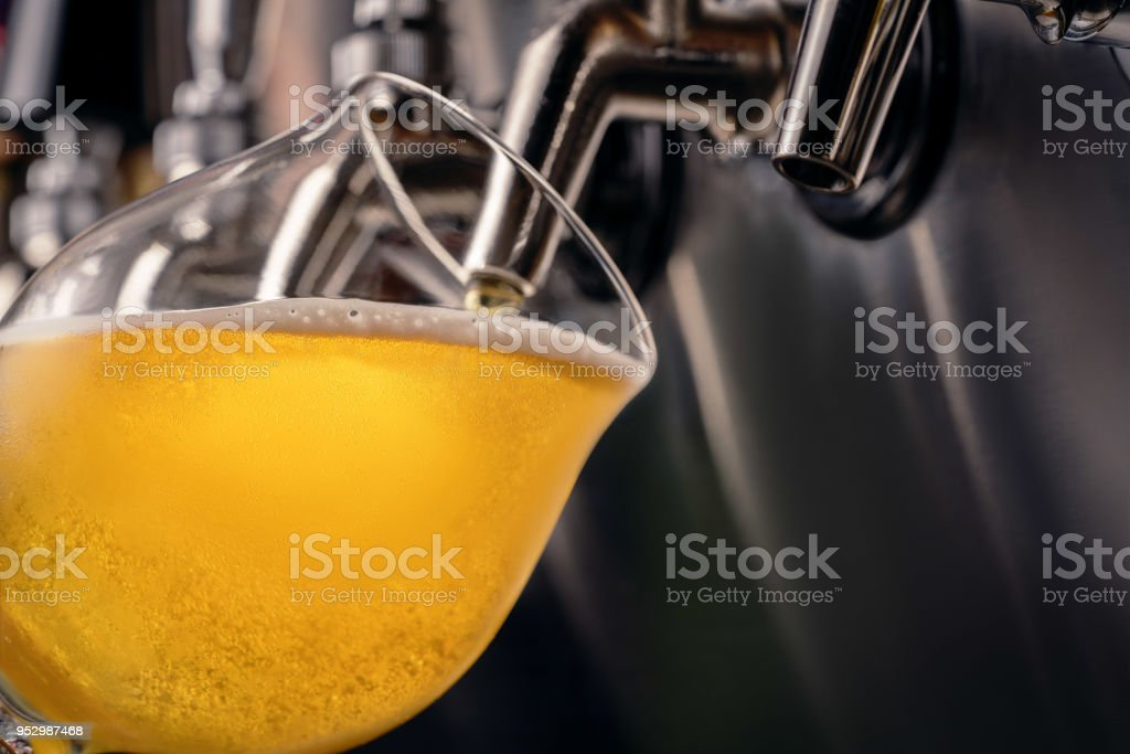 Golden Beer Poured from a Wall Tap stock photo