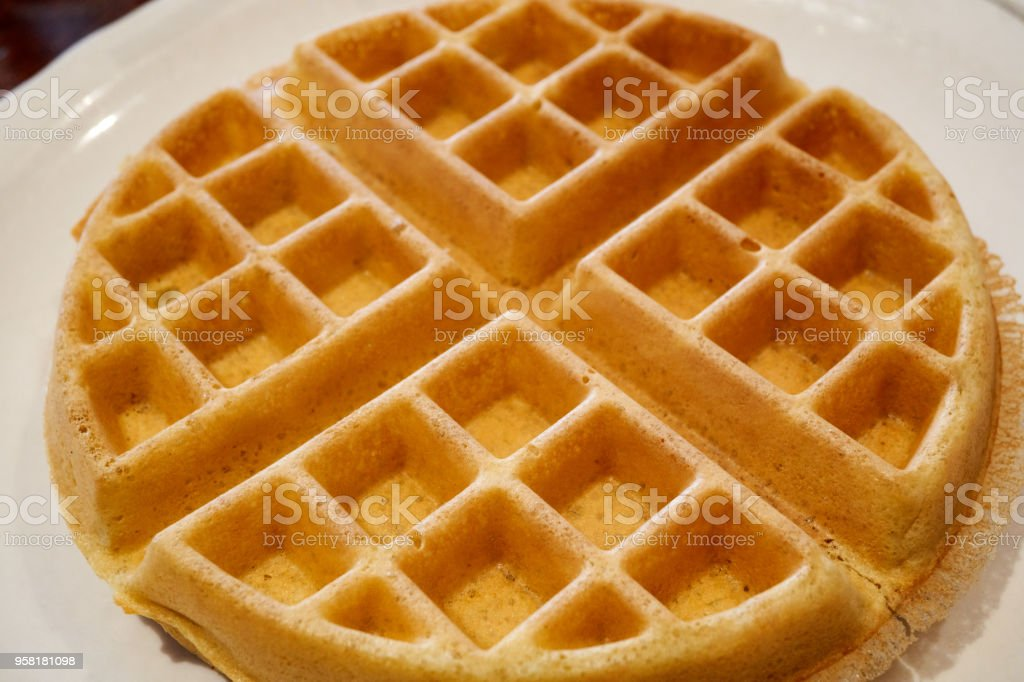 Golden Belgian Waffle stock photo