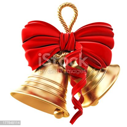 istock Golden bells and red bow for Christmas 177545114