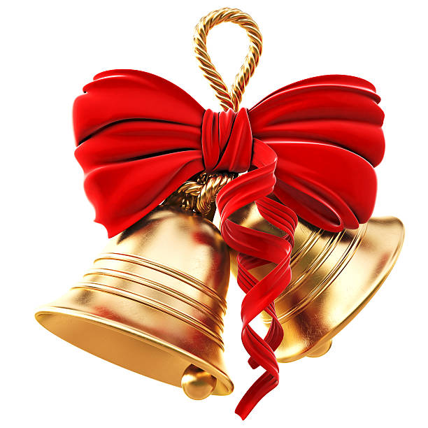golden bells and red bow for christmas - bell stock pictures, royalty-free photos & images