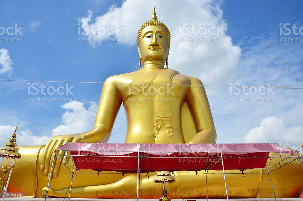 Golden Big Buddha Of Wat Bangchak In Nonthaburi Thailand Stock Photo