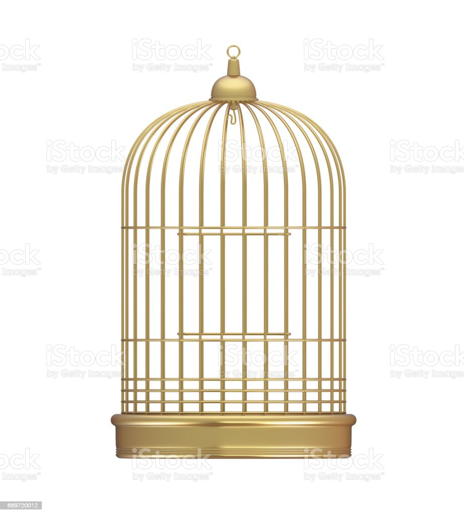 Golden Birdcage Isolated stock photo