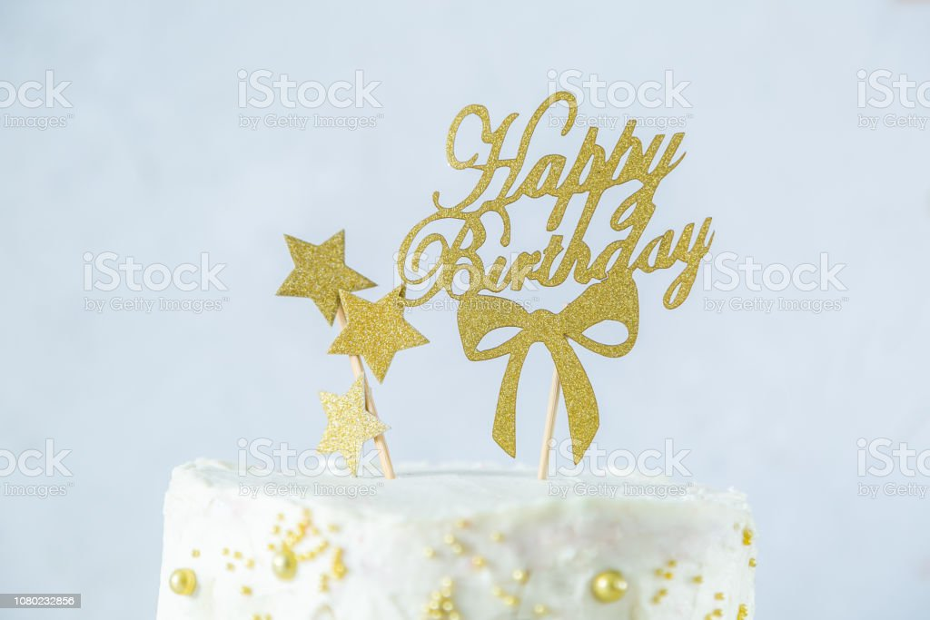 Astounding Golden Birthday Concept Cake Presents Decorations Stock Photo Funny Birthday Cards Online Alyptdamsfinfo