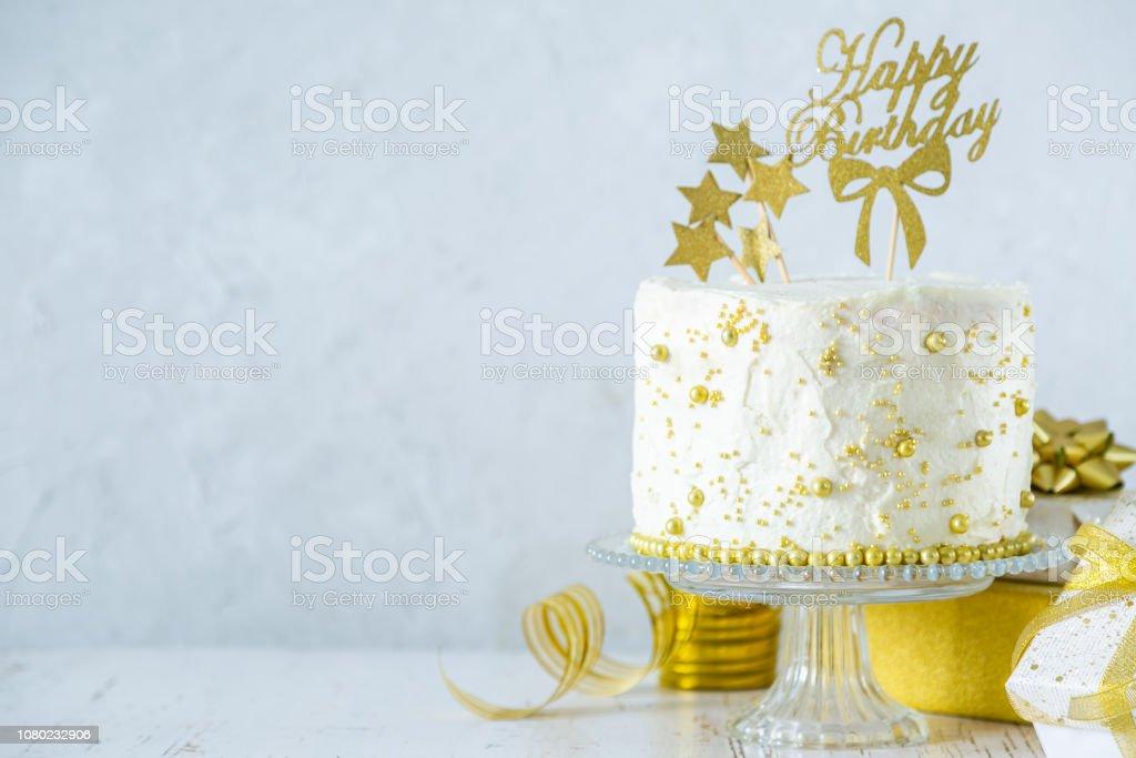 Fine Golden Birthday Concept Cake Presents Decorations Stock Photo Funny Birthday Cards Online Sheoxdamsfinfo