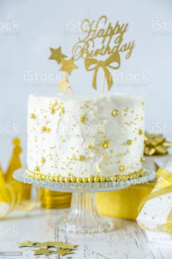 Brilliant Golden Birthday Concept Cake Presents Decorations Stock Photo Funny Birthday Cards Online Alyptdamsfinfo