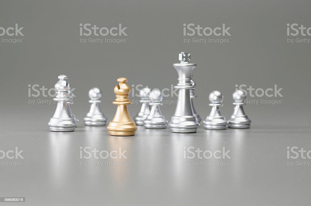 Golden Bishop chess stock photo