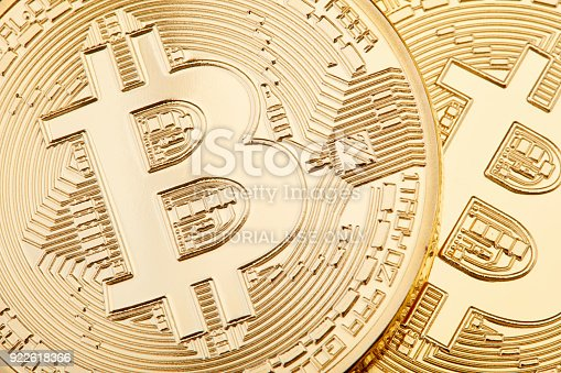 istock Golden Bitcoin background, two coins 922618366
