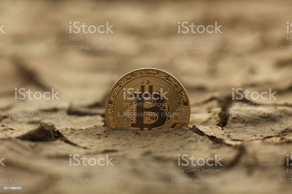 Golden Bitcoin Coin on cracked ground - fotografia de stock