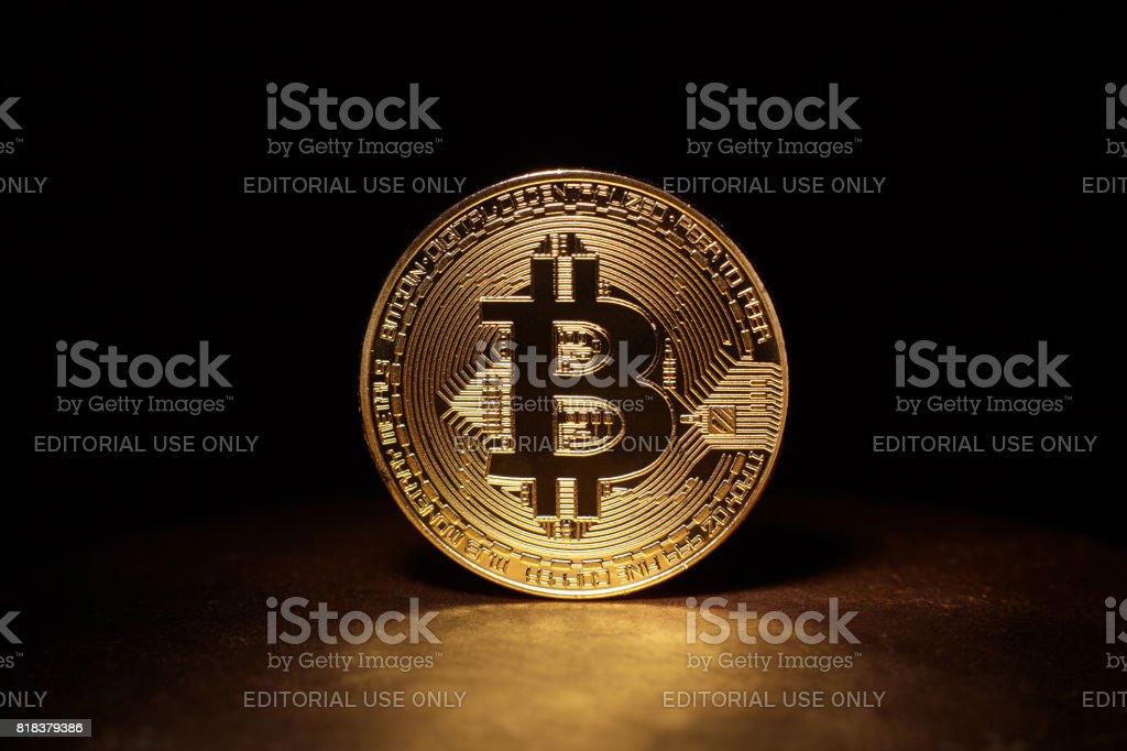 Golden Bitcoin Coin stock photo
