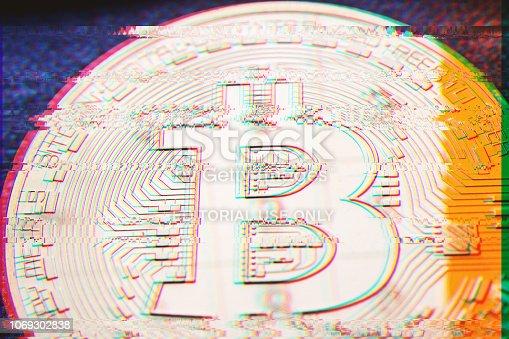 istock golden bitcoin coin with digital pixel glitch error effect 1069302838