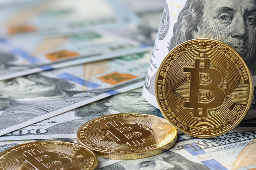 Virtual money and digital crypto currency concept.