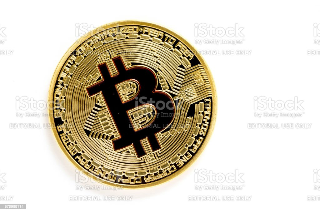 golden bitcoin (virtual coins) isolated on white background - fotografia de stock