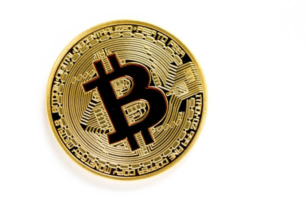 golden bitcoin (virtual coins) isolated on white background stock photo