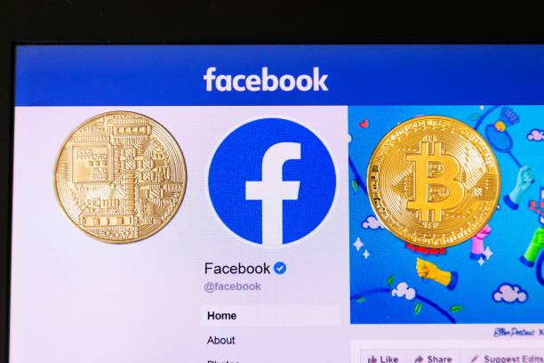 Golden Bitcoin lügen Homepage von Facebook starten digitale Brieftasche Calibra und Kryptowährung Waage – Foto