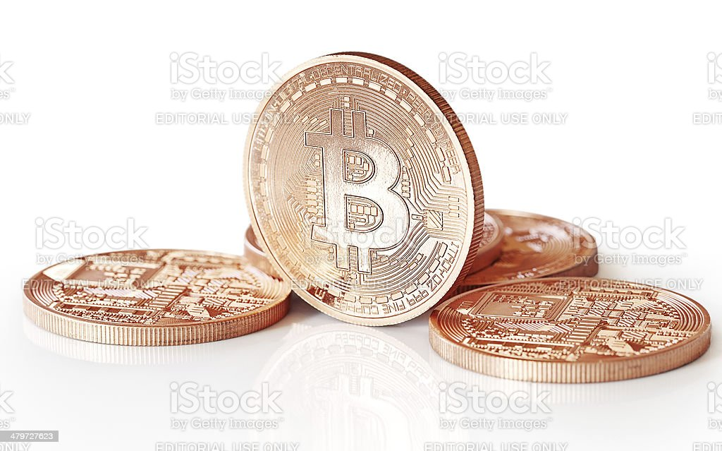 Golden Bitcoins - fotografia de stock