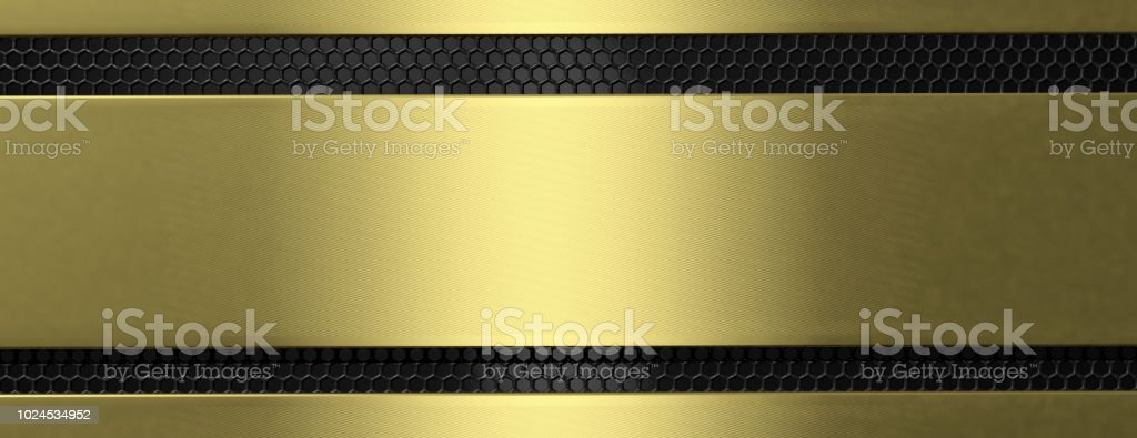 Golden black metal plate and grate, banner. 3d illustration stock photo