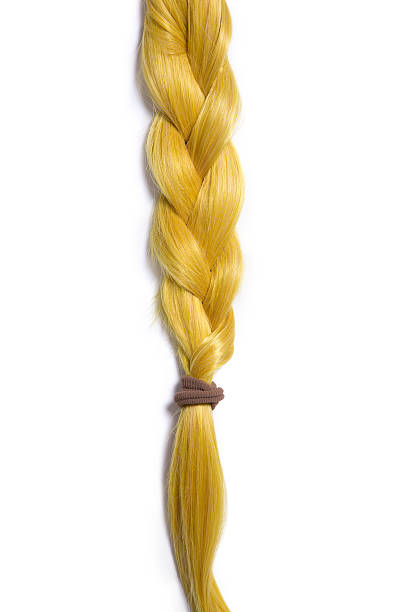 golden blond hair braided in pigtail - pigtails stock photos and pictures