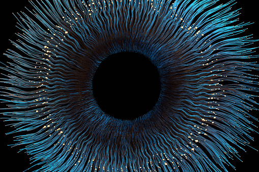 Abstract golden-blue iris, CGI.